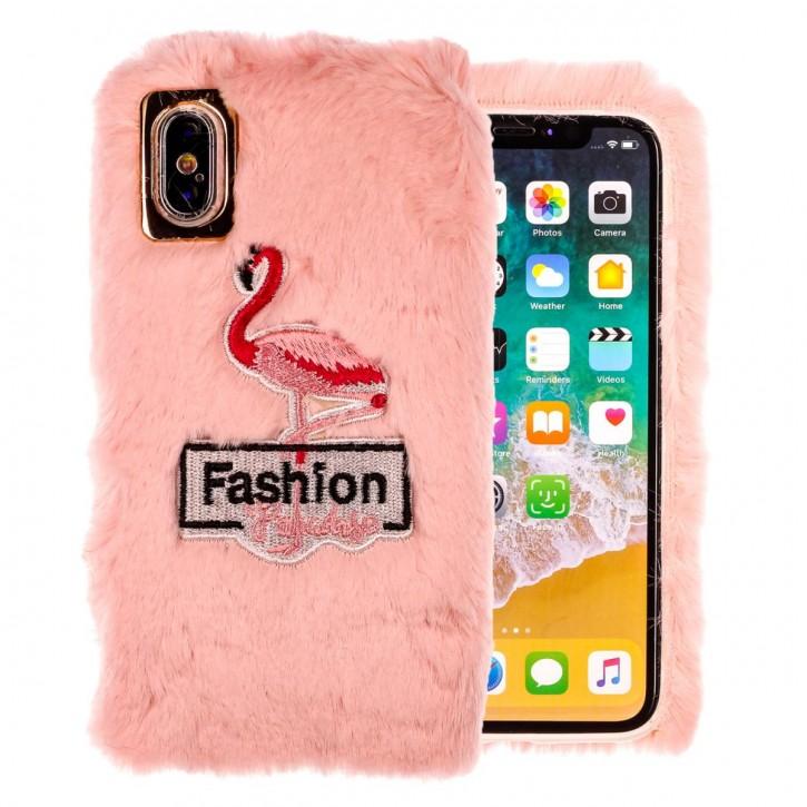 COOVY® Cover für Apple iPhone X / Xs leichtes TPU Bumper Case/Hülle mit flauschig kuscheligen Fell-Imitat und trendig gesticktem Flamingo-Motiv |