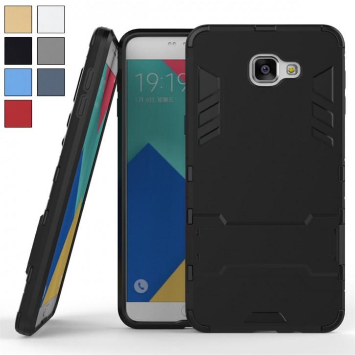 COOVY® Cover für Samsung Galaxy A9 pro SM-A910 / SM-A910F/DS (Model 2016) Bumper Case, Doppelschicht aus Plastik + TPU-Silikon, extra stark, Anti-Shock Hülle, Standfunktion |