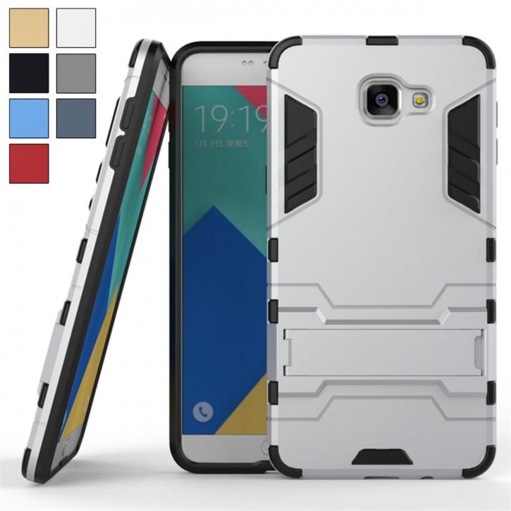 COOVY® Cover für Samsung Galaxy A9 pro SM-A910 / SM-A910F/DS (Model 2016) Bumper Case, Doppelschicht aus Plastik + TPU-Silikon, extra stark, Anti-Shock, Standfunktion