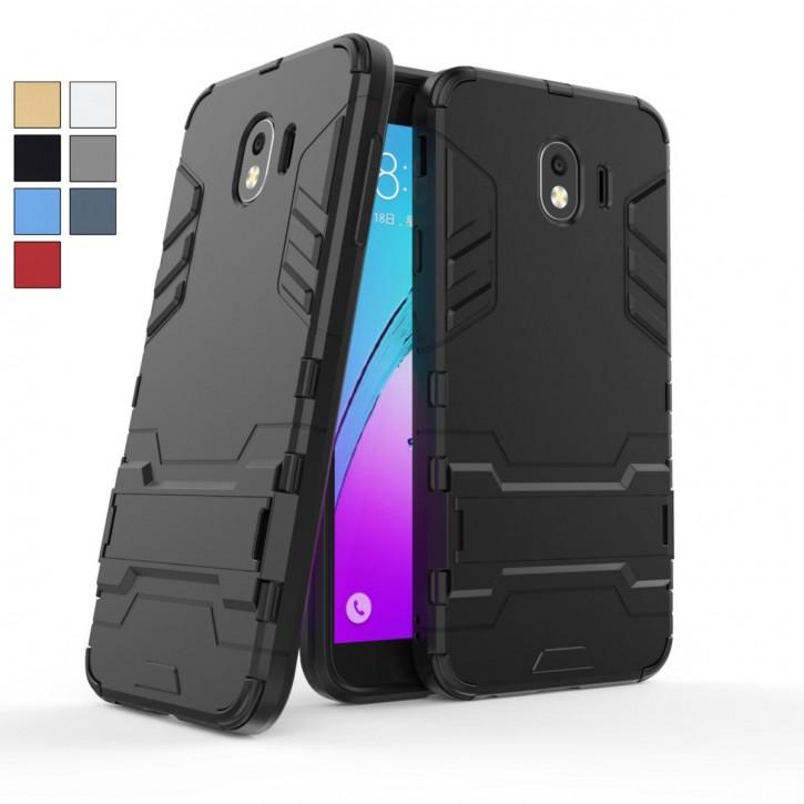 COOVY® Cover für Samsung Galaxy J4 SM-J400F/DS / SM-J400G/DS (Model 2018) Bumper Case, Doppelschicht aus Plastik + TPU-Silikon, extra stark, Anti-Shock Hülle, Standfunktion |