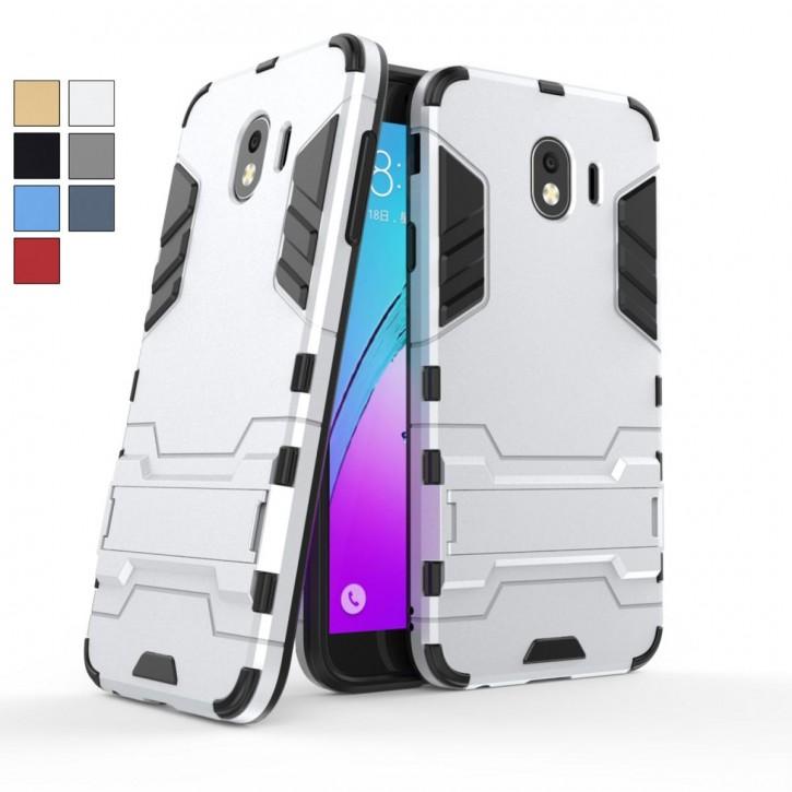 COOVY® Cover für Samsung Galaxy J4 SM-J400F/DS / SM-J400G/DS (Model 2018) Bumper Case, Doppelschicht aus Plastik + TPU-Silikon, extra stark, Anti-Shock, Standfunktion