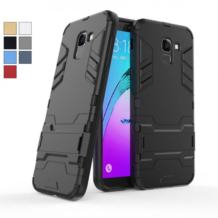 COOVY® Cover für Samsung Galaxy J6 SM-J600 / SM-J600F/DS (Model 2018) Bumper Case, Doppelschicht aus Plastik + TPU-Silikon, extra stark, Anti-Shock Hülle, Standfunktion |