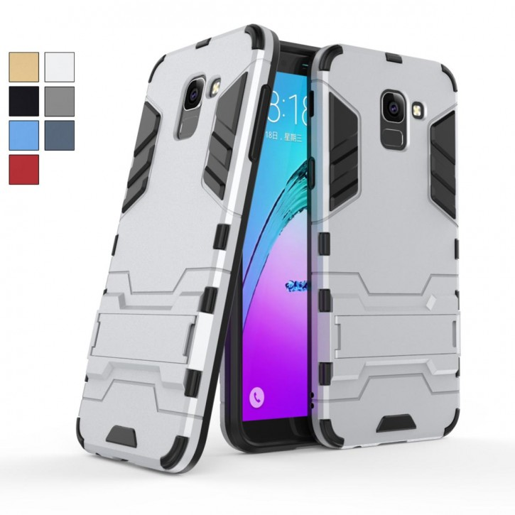 COOVY® Cover für Samsung Galaxy J6 SM-J600 / SM-J600F/DS (Model 2018) Bumper Case, Doppelschicht aus Plastik + TPU-Silikon, extra stark, Anti-Shock, Standfunktion