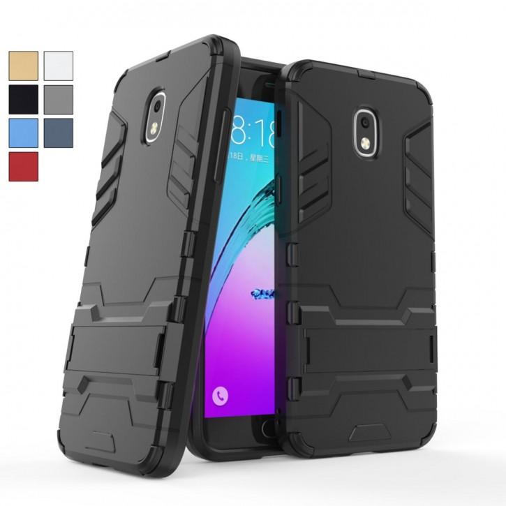 COOVY® Cover für Samsung Galaxy J3 SM-J337 (Model 2018) Bumper Case, Doppelschicht aus Plastik + TPU-Silikon, extra stark, Anti-Shock Hülle, Standfunktion |