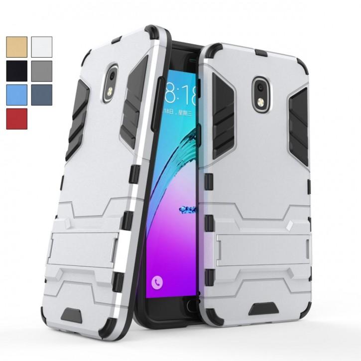 COOVY® Cover für Samsung Galaxy J3 SM-J337 (Model 2018) Bumper Case, Doppelschicht aus Plastik + TPU-Silikon, extra stark, Anti-Shock, Standfunktion