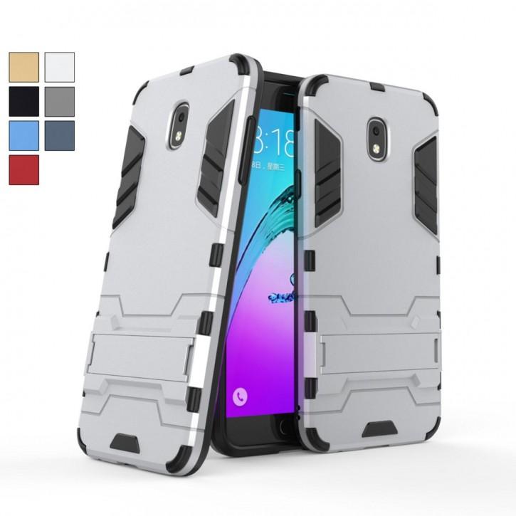 COOVY® Cover für Samsung Galaxy j7 SM-J737 (Model 2018) Bumper Case, Doppelschicht aus Plastik + TPU-Silikon, extra stark, Anti-Shock, Standfunktion