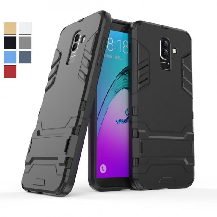 COOVY® Cover für Samsung Galaxy J8 SM-J810 / SM-J810F/DS (Model 2018) Bumper Case, Doppelschicht aus Plastik + TPU-Silikon, extra stark, Anti-Shock Hülle, Standfunktion |