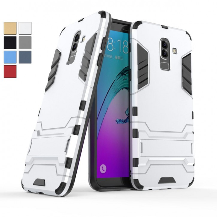 COOVY® Cover für Samsung Galaxy J8 SM-J810 / SM-J810F/DS (Model 2018) Bumper Case, Doppelschicht aus Plastik + TPU-Silikon, extra stark, Anti-Shock, Standfunktion