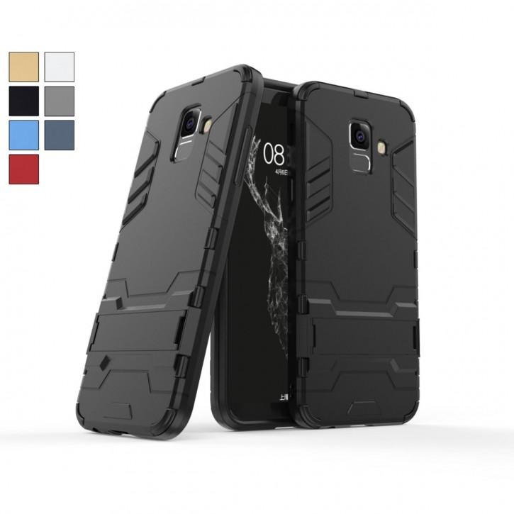 COOVY® Cover für Samsung Galaxy A6 + plus  SM-A605 / SM-A605F/DS (Model 2018) Bumper Case, Doppelschicht aus Plastik + TPU-Silikon, extra stark, Anti-Shock Hülle, Standfunktion |