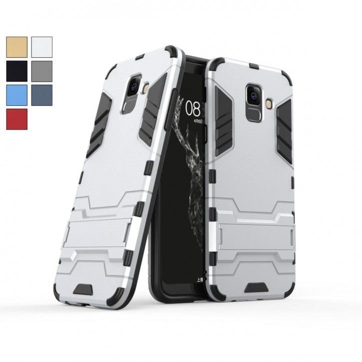 COOVY® Cover für Samsung Galaxy A6 + plus  SM-A605 / SM-A605F/DS (Model 2018) Bumper Case, Doppelschicht aus Plastik + TPU-Silikon, extra stark, Anti-Shock, Standfunktion