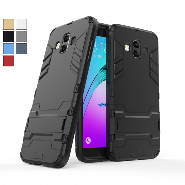 COOVY® Cover für Samsung Galaxy J7 Duo SM-J720 / SM-J720F/DS (Model 2018) Bumper Case, Doppelschicht aus Plastik + TPU-Silikon, extra stark, Anti-Shock Hülle, Standfunktion  