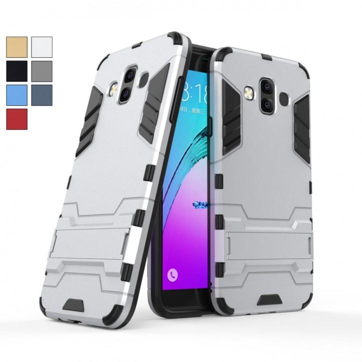 COOVY® Cover für Samsung Galaxy J7 Duo SM-J720 / SM-J720F/DS (Model 2018) Bumper Case, Doppelschicht aus Plastik + TPU-Silikon, extra stark, Anti-Shock, Standfunktion