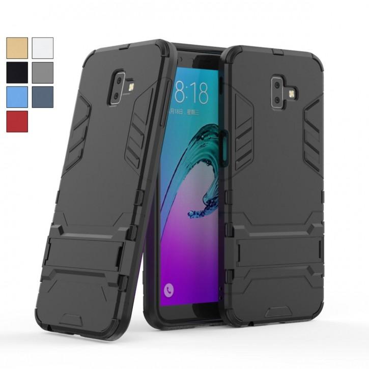 COOVY® Cover für Samsung Galaxy J6 + plus SM-J610FN / SM-J610G/DS (Model 2018) Bumper Case, Doppelschicht aus Plastik + TPU-Silikon, extra stark, Anti-Shock Hülle, Standfunktion  