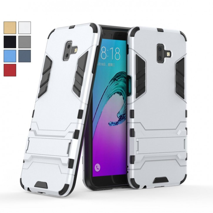 COOVY® Cover für Samsung Galaxy J6 + plus SM-J610FN / SM-J610G/DS (Model 2018) Bumper Case, Doppelschicht aus Plastik + TPU-Silikon, extra stark, Anti-Shock, Standfunktion