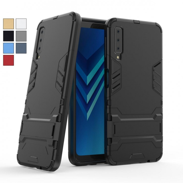 COOVY® Cover für Samsung Galaxy A7 SM-A750 / SM-A750FN/DS (Model 2018) Bumper Case, Doppelschicht aus Plastik + TPU-Silikon, extra stark, Anti-Shock Hülle, Standfunktion  