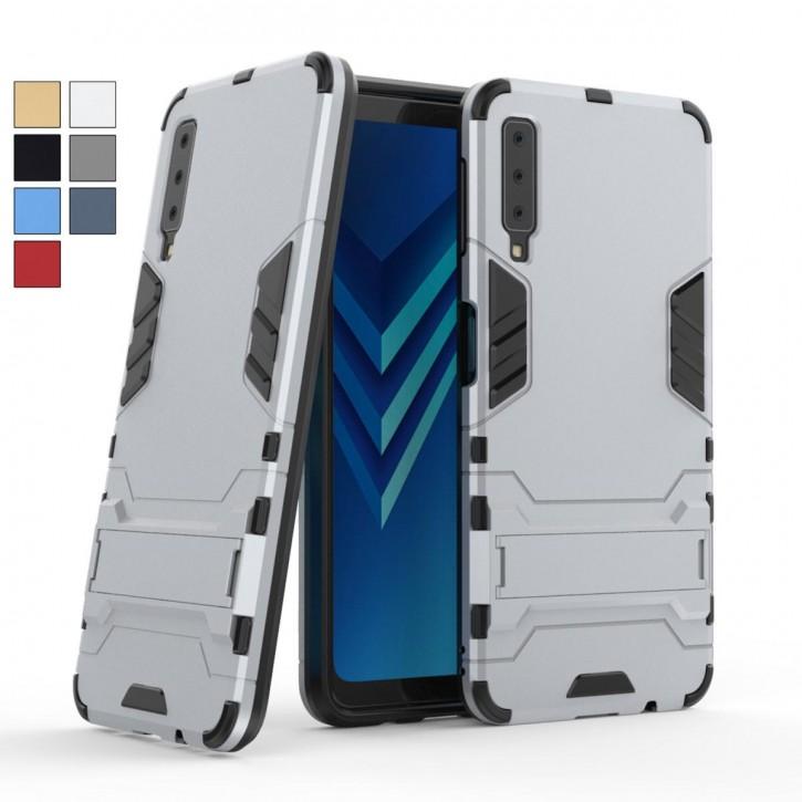COOVY® Cover für Samsung Galaxy A7 SM-A750 / SM-A750FN/DS (Model 2018) Bumper Case, Doppelschicht aus Plastik + TPU-Silikon, extra stark, Anti-Shock, Standfunktion