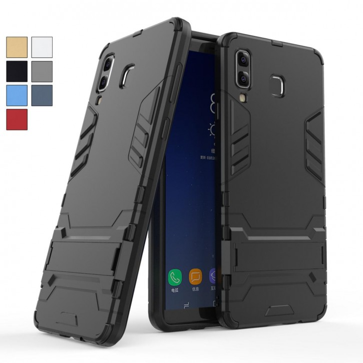 COOVY® Cover für Samsung Galaxy A9 SM-A920 / SM-A920F/DS / A9 Star Pro/ A9s (Model 2018) Bumper Case, Doppelschicht aus Plastik + TPU-Silikon, extra stark, Anti-Shock Hülle, Standfunktion  