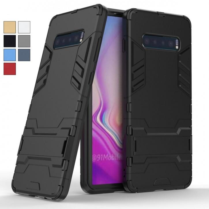 COOVY® Cover für Samsung Galaxy S10 + plus SM-G975F Bumper Case, Doppelschicht aus Plastik + TPU-Silikon, extra stark, Anti-Shock Hülle, Standfunktion |