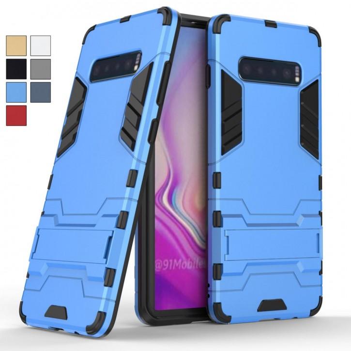 COOVY® Cover für Samsung Galaxy S10 + plus SM-G975F Bumper Case, Doppelschicht aus Plastik + TPU-Silikon, extra stark, Anti-Shock, Standfunktion