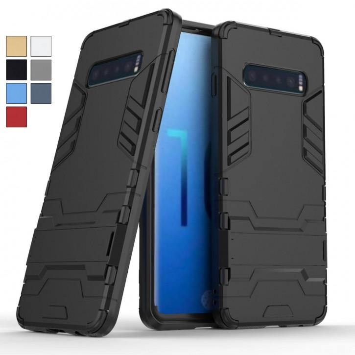 COOVY® Cover für Samsung Galaxy S10 SM-G973F Bumper Case, Doppelschicht aus Plastik + TPU-Silikon, extra stark, Anti-Shock Hülle, Standfunktion  