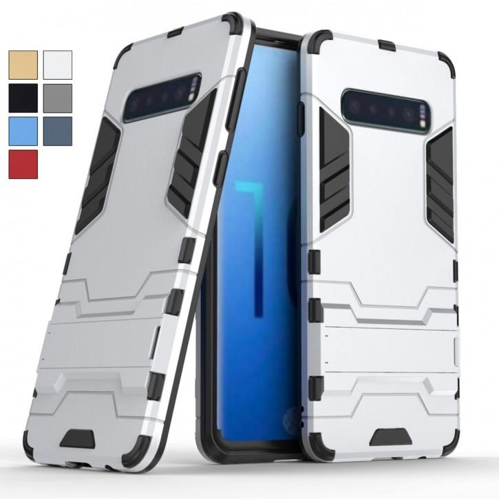 COOVY® Cover für Samsung Galaxy S10 SM-G973F Bumper Case, Doppelschicht aus Plastik + TPU-Silikon, extra stark, Anti-Shock, Standfunktion