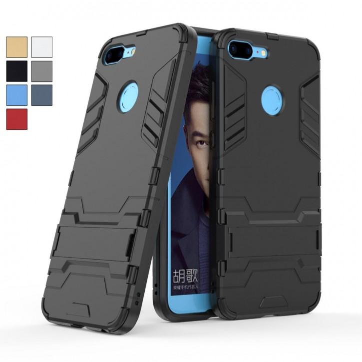 COOVY® Cover für Huawei Honor 9 Lite Bumper Case, Doppelschicht aus Plastik + TPU-Silikon, extra stark, Anti-Shock Hülle, Standfunktion |