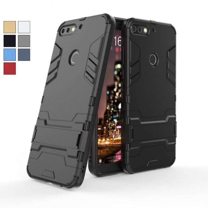 COOVY® Cover für Huawei Honor 7C Bumper Case, Doppelschicht aus Plastik + TPU-Silikon, extra stark, Anti-Shock Hülle, Standfunktion  