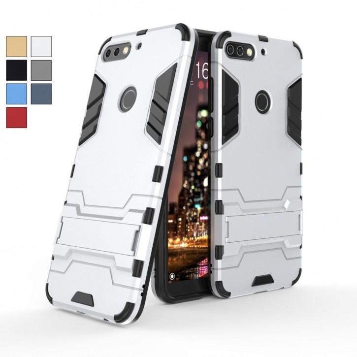 COOVY® Cover für Huawei Honor 7C Bumper Case, Doppelschicht aus Plastik + TPU-Silikon, extra stark, Anti-Shock Hülle, Standfunktion |