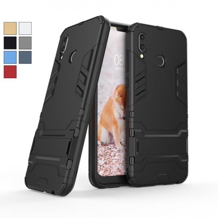 COOVY® Cover für Huawei Honor play Bumper Case, Doppelschicht aus Plastik + TPU-Silikon, extra stark, Anti-Shock Hülle, Standfunktion |