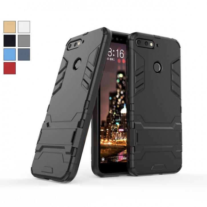 COOVY® Cover für Huawei Y6 (Model 2018) Bumper Case, Doppelschicht aus Plastik + TPU-Silikon, extra stark, Anti-Shock Hülle, Standfunktion |