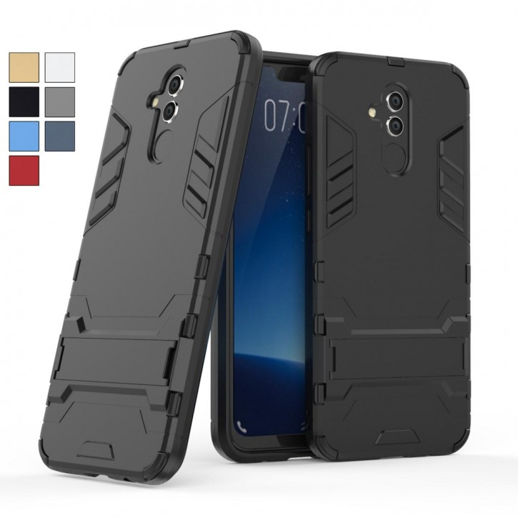 COOVY® Cover für Huawei Mate 20 lite Bumper Case, Doppelschicht aus Plastik + TPU-Silikon, extra stark, Anti-Shock Hülle, Standfunktion |
