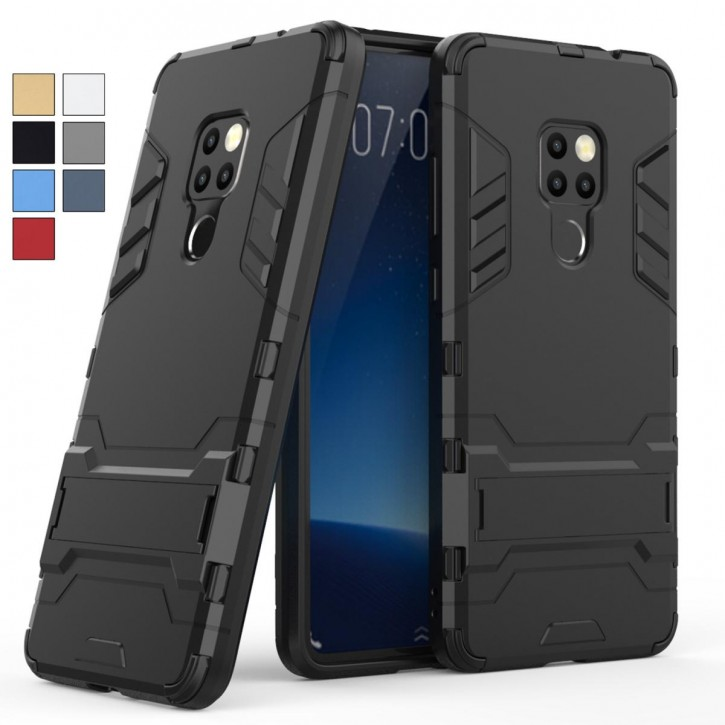 COOVY® Cover für Huawei Mate 20 Bumper Case, Doppelschicht aus Plastik + TPU-Silikon, extra stark, Anti-Shock, Standfunktion