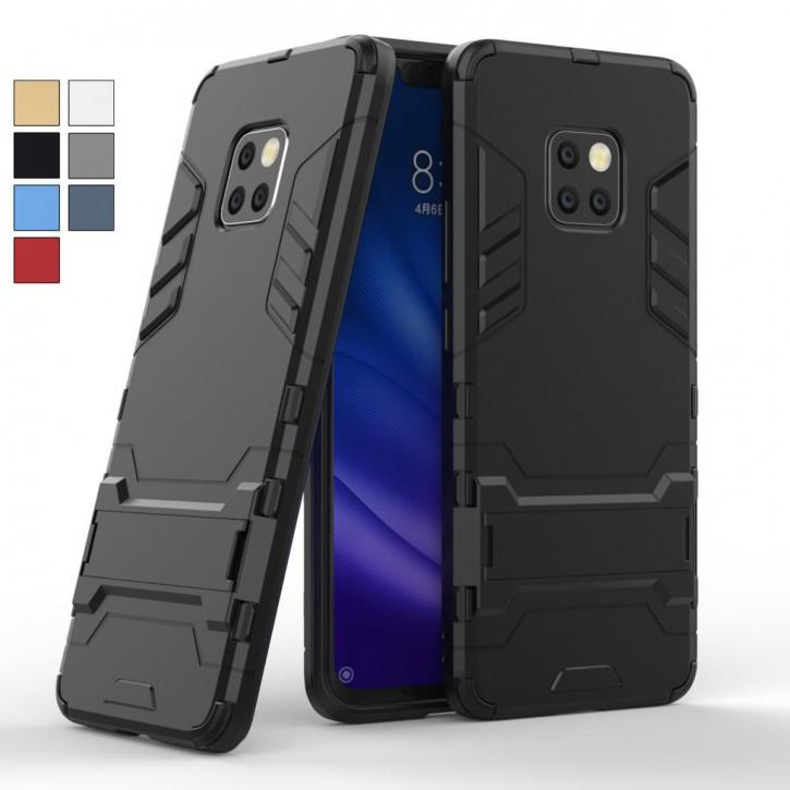 COOVY® Cover für Huawei Mate 20 pro Bumper Case, Doppelschicht aus Plastik + TPU-Silikon, extra stark, Anti-Shock, Standfunktion