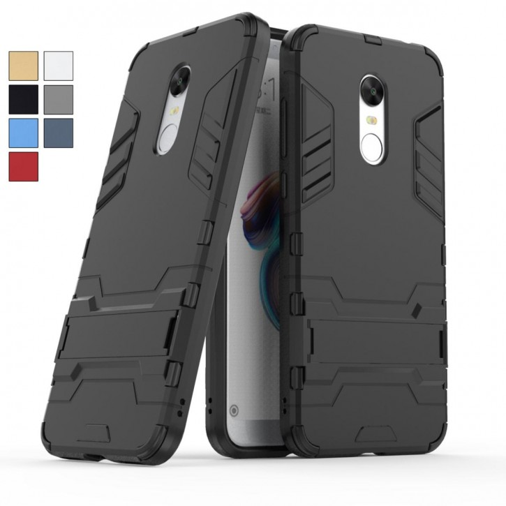 COOVY® Cover für Xiaomi Redmi 5 plus Bumper Case, Doppelschicht aus Plastik + TPU-Silikon, extra stark, Anti-Shock, Standfunktion