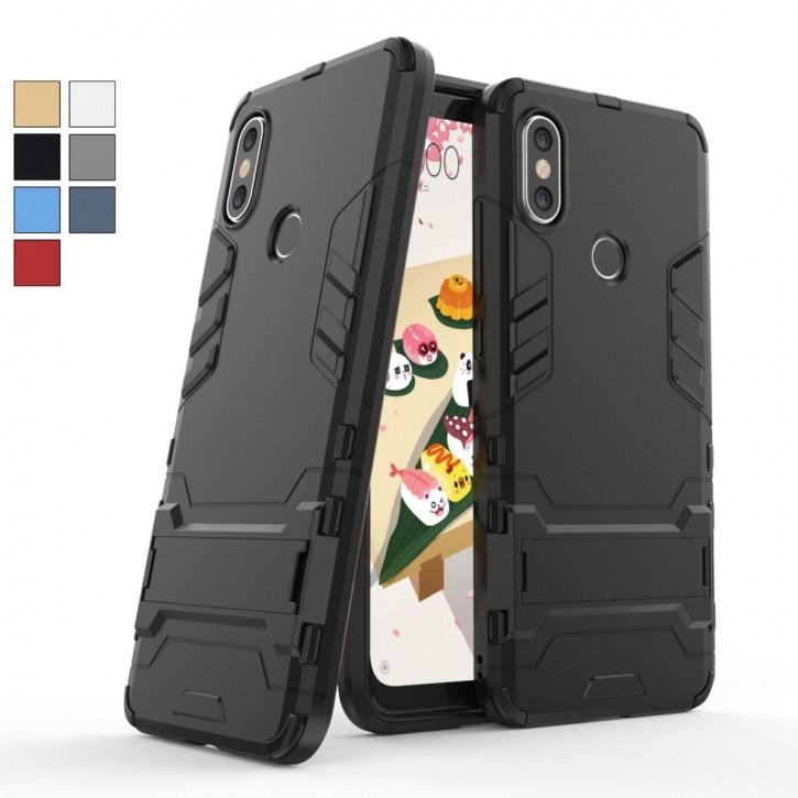 COOVY® Cover für Xiaomi Mi A2 Bumper Case, Doppelschicht aus Plastik + TPU-Silikon, extra stark, Anti-Shock, Standfunktion