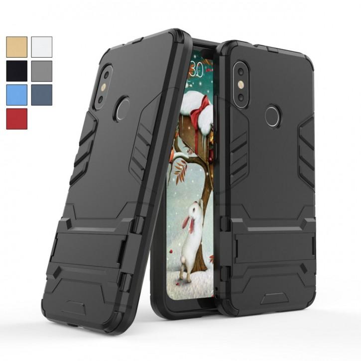 COOVY® Cover für Xiaomi Mi A2 Lite Bumper Case, Doppelschicht aus Plastik + TPU-Silikon, extra stark, Anti-Shock, Standfunktion