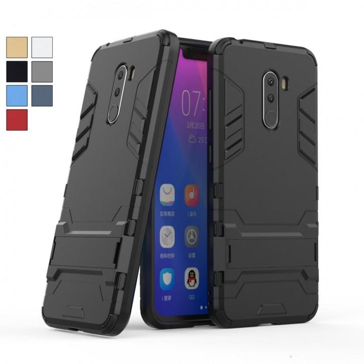 COOVY® Cover für Xiaomi Pocophone F1 Bumper Case, Doppelschicht aus Plastik + TPU-Silikon, extra stark, Anti-Shock, Standfunktion