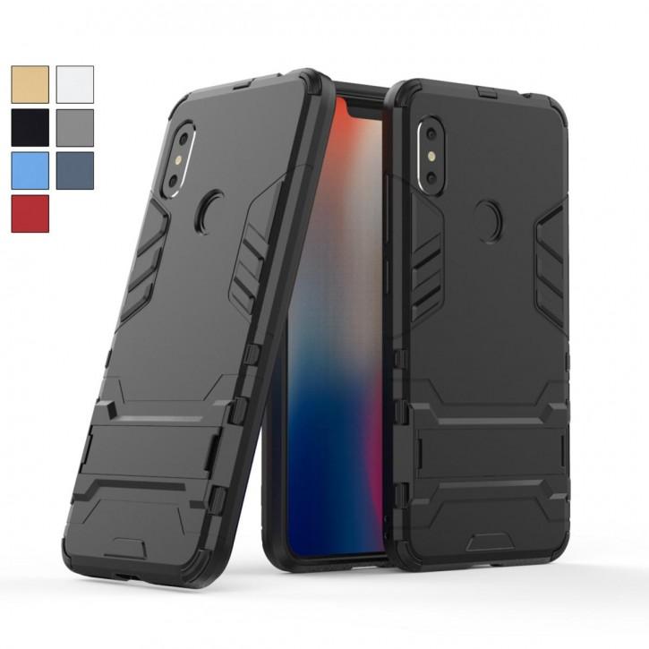 COOVY® Cover für Xiaomi Redmi Note 6 pro Bumper Case, Doppelschicht aus Plastik + TPU-Silikon, extra stark, Anti-Shock, Standfunktion