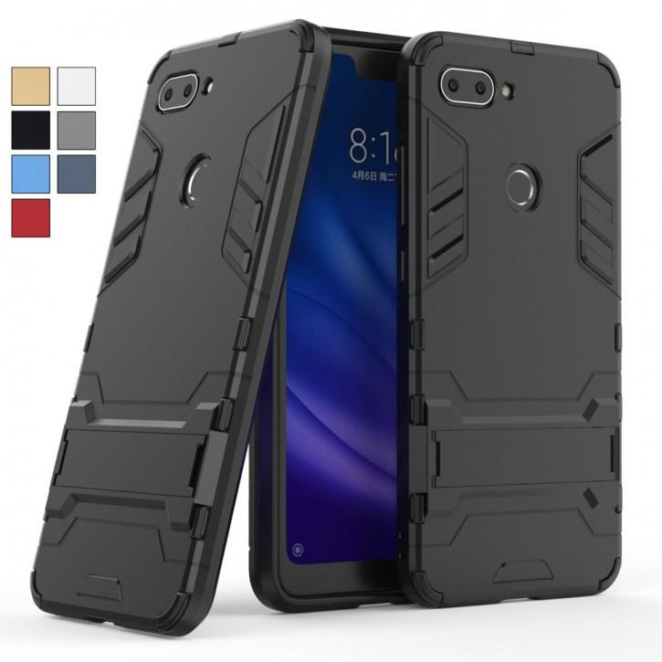 COOVY® Cover für Xiaomi Mi 8 lite Bumper Case, Doppelschicht aus Plastik + TPU-Silikon, extra stark, Anti-Shock, Standfunktion