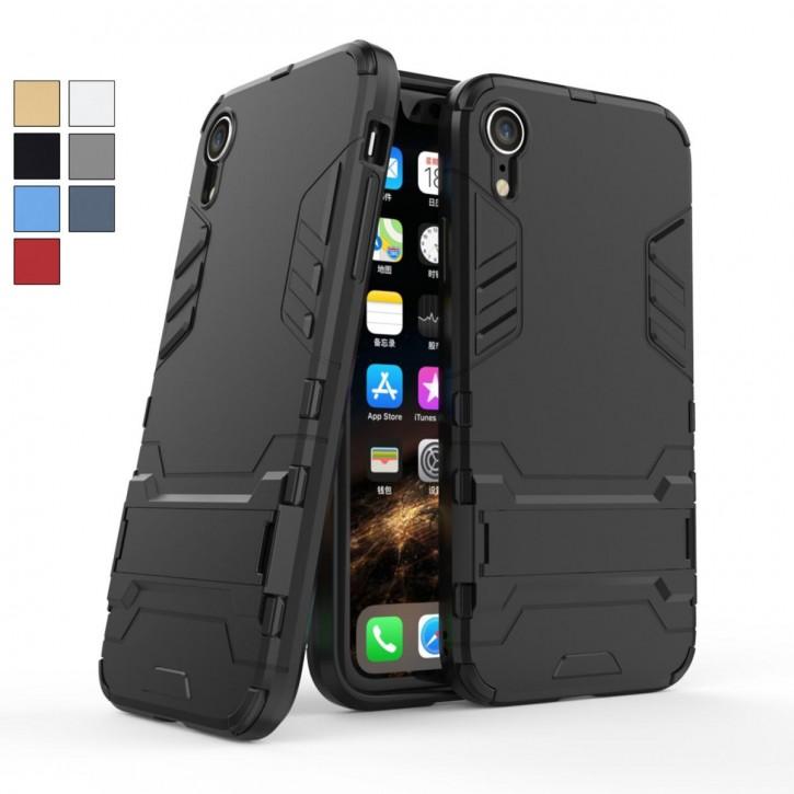COOVY® Cover für Apple iPhone Xr Bumper Case, Doppelschicht aus Plastik + TPU-Silikon, extra stark, Anti-Shock, Standfunktion