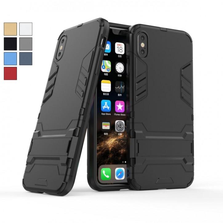 COOVY® Cover für Apple iPhone Xs Max Bumper Case, Doppelschicht aus Plastik + TPU-Silikon, extra stark, Anti-Shock Hülle, Standfunktion |