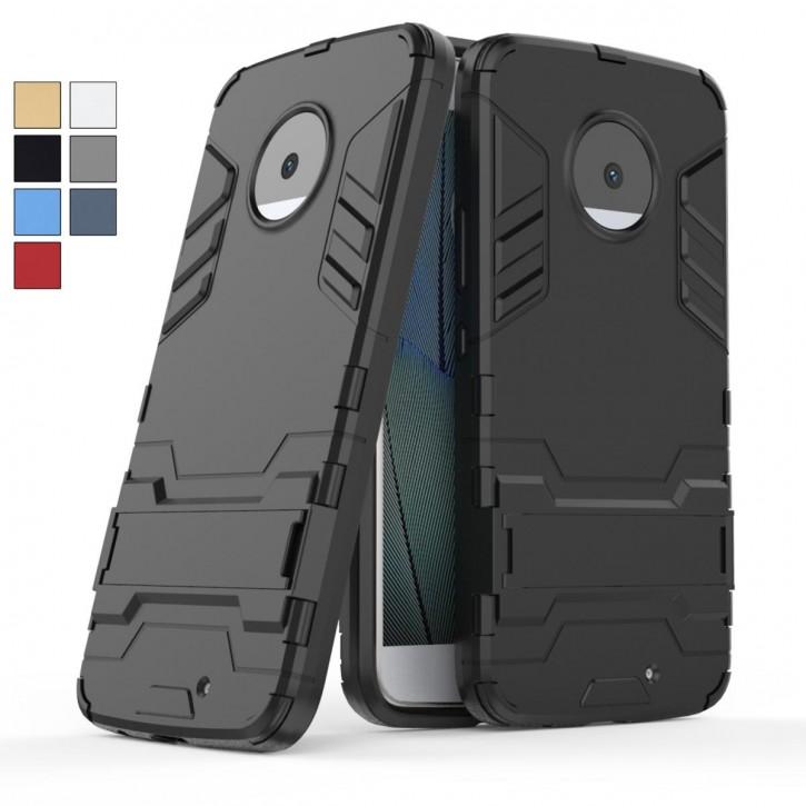 COOVY® Cover für Motorola Moto X4 Bumper Case, Doppelschicht aus Plastik + TPU-Silikon, extra stark, Anti-Shock Hülle, Standfunktion |