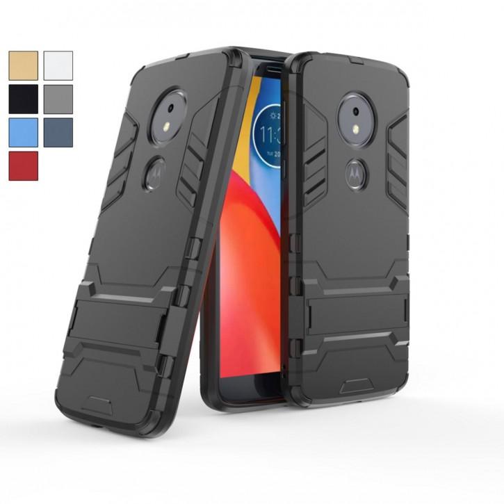 COOVY® Cover für Motorola Moto E5 / Moto G6 Play Bumper Case, Doppelschicht aus Plastik + TPU-Silikon, extra stark, Anti-Shock, Standfunktion