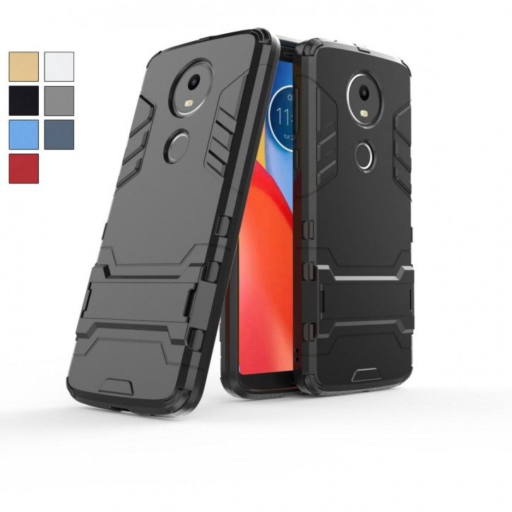 COOVY® Cover für Motorola Moto E5 plus Bumper Case, Doppelschicht aus Plastik + TPU-Silikon, extra stark, Anti-Shock, Standfunktion