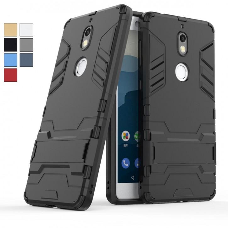COOVY® Cover für Nokia 7 Bumper Case, Doppelschicht aus Plastik + TPU-Silikon, extra stark, Anti-Shock, Standfunktion