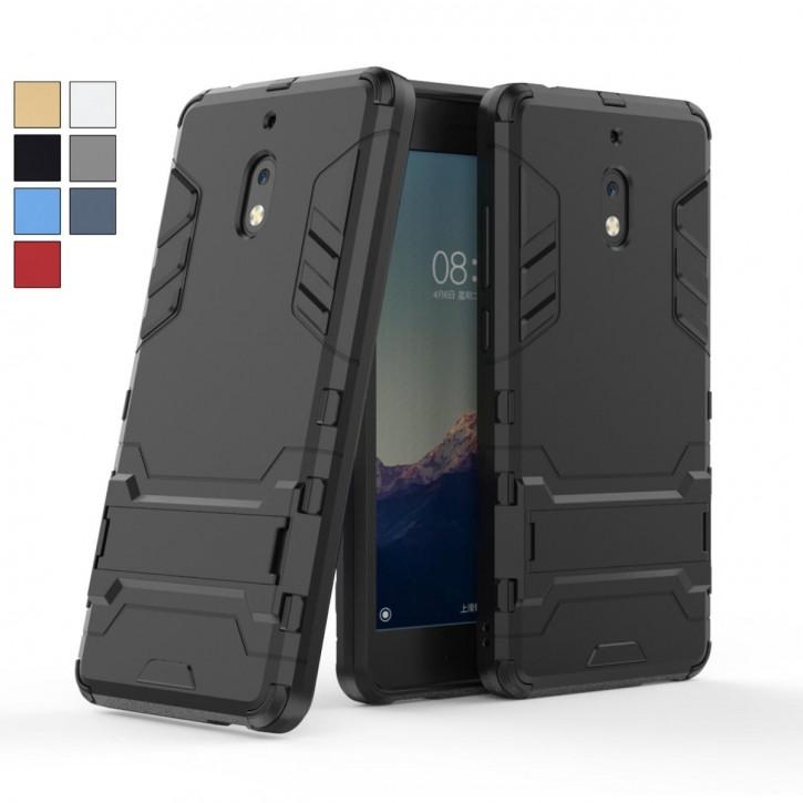 COOVY® Cover für Nokia 2.1 Bumper Case, Doppelschicht aus Plastik + TPU-Silikon, extra stark, Anti-Shock, Standfunktion