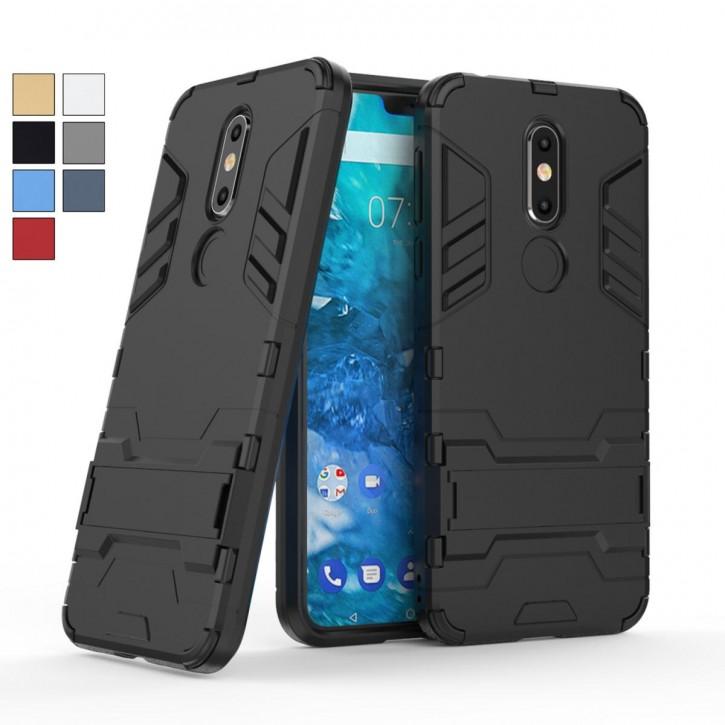 COOVY® Cover für Nokia 7.1 Bumper Case, Doppelschicht aus Plastik + TPU-Silikon, extra stark, Anti-Shock, Standfunktion