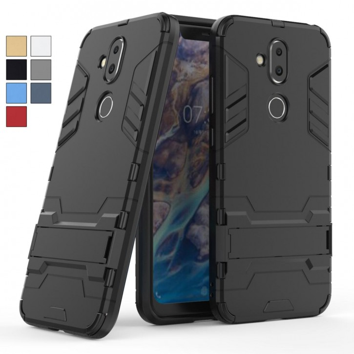 COOVY® Cover für Nokia 8.1 Bumper Case, Doppelschicht aus Plastik + TPU-Silikon, extra stark, Anti-Shock, Standfunktion