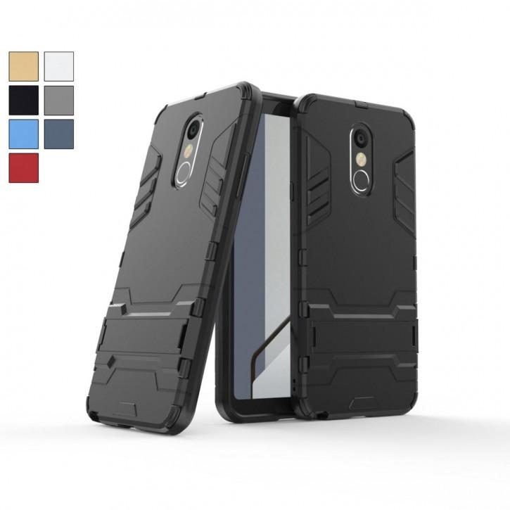 COOVY® Cover für LG Stylo 4 / Q Stylo 4 Bumper Case, Doppelschicht aus Plastik + TPU-Silikon, extra stark, Anti-Shock, Standfunktion