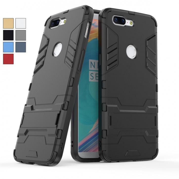 COOVY® Cover für Oneplus 5T Bumper Case, Doppelschicht aus Plastik + TPU-Silikon, extra stark, Anti-Shock, Standfunktion